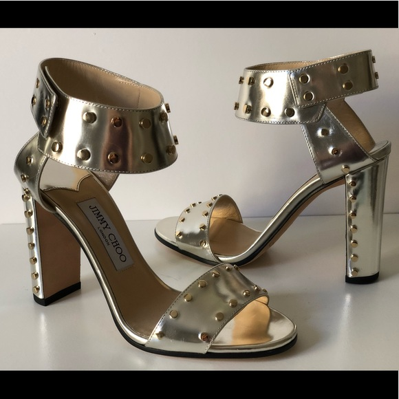 d272b8e6abff JIMMY CHOO VETO 100 STUDDED ANKLE CUFF SANDALS